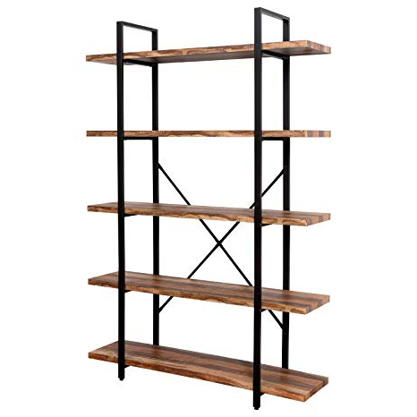 Latest Beckett Etagere Bookcases For Ironck Bookshelf And Bookcase 5 Tier, 130Lbs/shelf Load Capacity,  Industrial Bookshelves Home Office Furniture, Wood And Metal Frame … (View 9 of 20)
