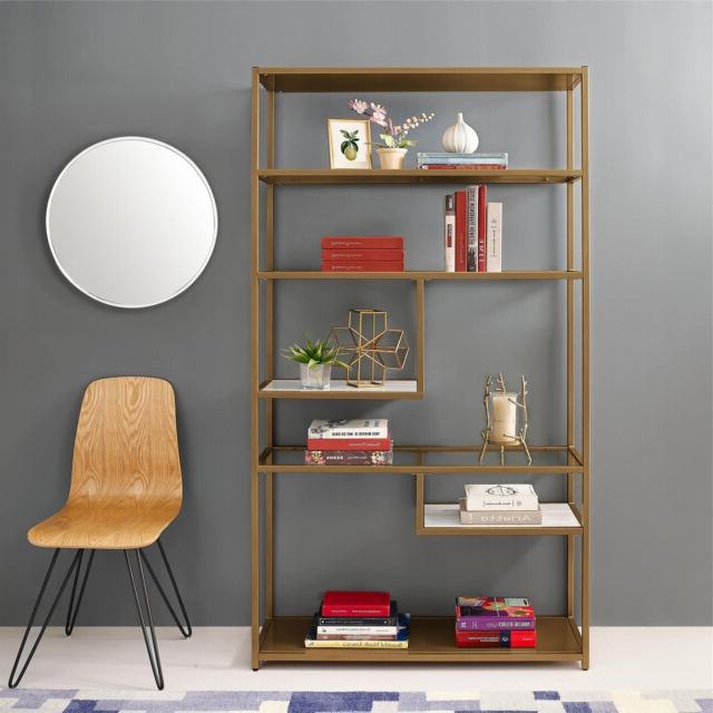 Latest Bookcase Bookshelves Geometric Etagere Glass Metal Brass Marble Gold Color Pertaining To Mckibben Geometric Bookcases (View 9 of 20)
