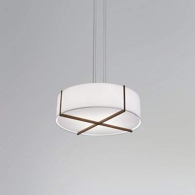 "Latest Cerno Plura 4 Light Drum Chandelier Cerno Size: 10.38"" H X 36"" W X 36"" D, Finish: Dark Stained Walnut, Shade Color: Brushed Brass Throughout Abel 5 Light Drum Chandeliers (Gallery 15 of 30)"