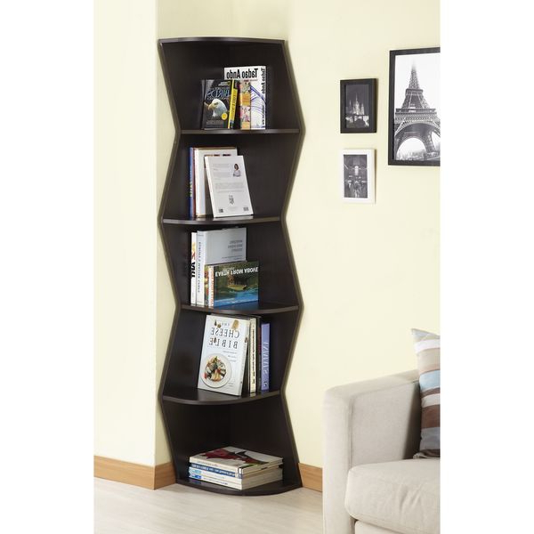 Latest Courtdale Corner Bookcases Within Furniture Of America Waverly Modern Walnut 6 Tier Corner (View 10 of 20)