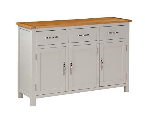 Latest Details About Metro Stone Painted Solid Oak Large Sideboard 3 Drawers And 3  Doors Dining Room Pertaining To Metro Sideboards (View 6 of 20)