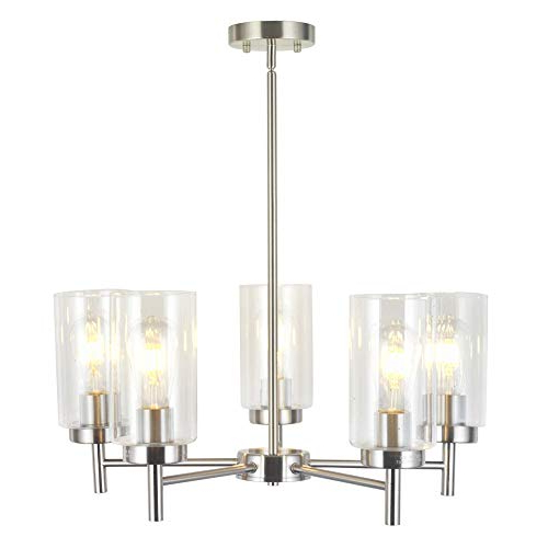 Latest Dining Room Chandelier Lights: Amazon In Abel 5 Light Drum Chandeliers (View 19 of 30)