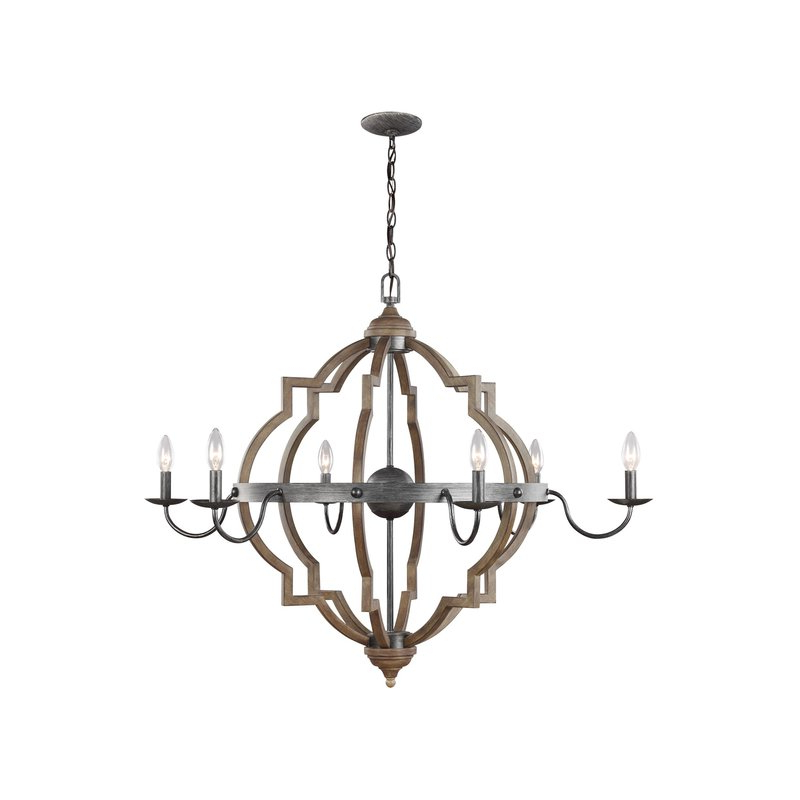 Latest Donna 6 Light Candle Style Chandelier Inside Hamza 6 Light Candle Style Chandeliers (View 16 of 30)