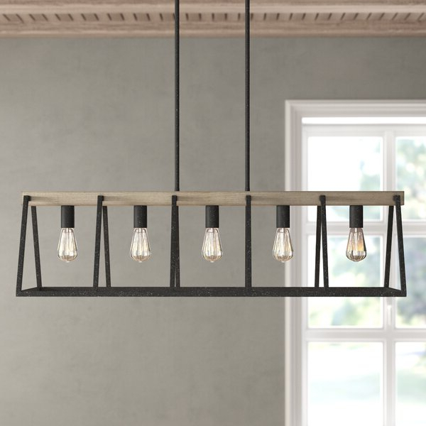 Latest Freemont 5 Light Kitchen Island Linear Chandeliers In Dillman 5 Light Kitchen Island Linear Pendant (Gallery 17 of 30)
