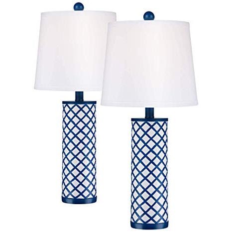 Latest Gisselle 4 Light Drum Chandeliers Inside Gisele Modern Coastal Table Lamps Set Of 2 Blue Lattice Pattern Column  White Tapered Drum Shade For Living Room Bedroom Bedside Nightstand Office (View 19 of 30)