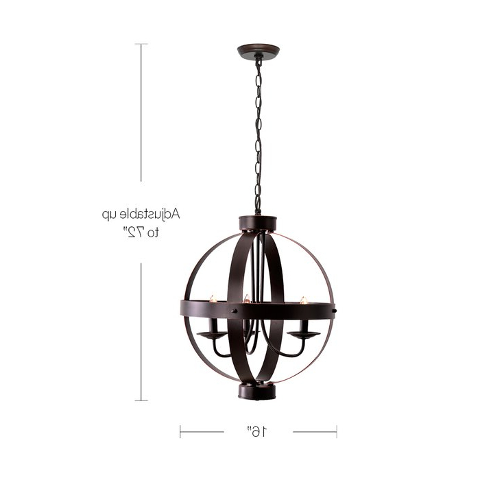 Latest La Sarre 3 Light Globe Chandelier In La Barge 3 Light Globe Chandeliers (Gallery 14 of 30)