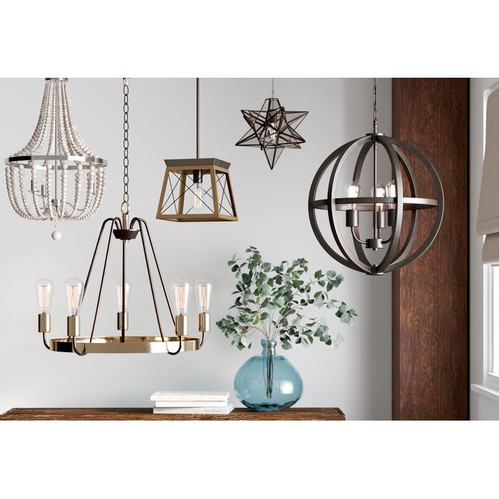 Latest Louanne 1 Light Lantern Geometric Pendants Inside Delon 1 Light Lantern Geometric Pendant (View 10 of 30)
