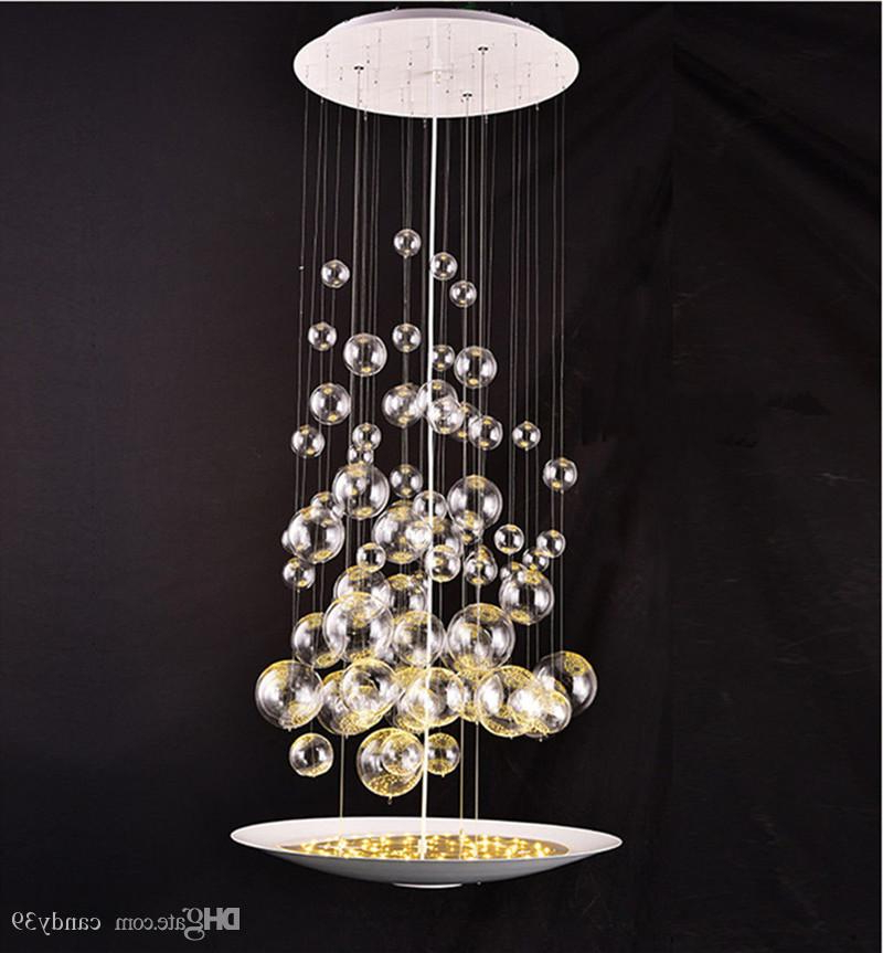 Latest Modern Glass Bubble Balls Led Suspension Pendant Lamp Clear Light Fixtures  For Parlor Study Bedroom Home Lighting B048 Throughout Lindsey 4 Light Drum Chandeliers (View 13 of 30)