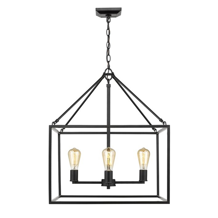 Latest Odie 4 Light Lantern Square Pendants Inside Zabel 4 Light Lantern Square / Rectangle Pendant (Gallery 6 of 30)