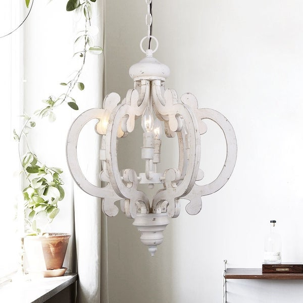 Latest Shop Rustic 6 Light Distressed Wooden Chandelier – Free Regarding Donna 6 Light Globe Chandeliers (View 20 of 30)