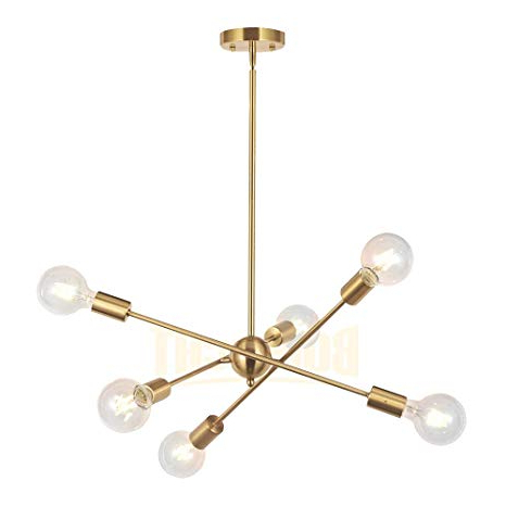 Latest Silvia 6 Light Sputnik Chandeliers With Regard To Bonlicht Modern Sputnik Chandelier Lighting 6 Lights Brushed Brass  Chandelier Mid Century Pendant Lighting Gold Ceiling Light Fixture For  Hallway Bar (View 7 of 30)