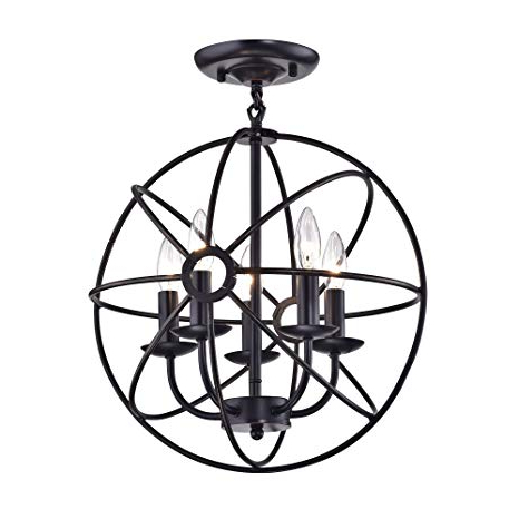 Latest Waldron 5 Light Globe Chandeliers Throughout Edvivi Dover 5 Light Oil Rubbed Bronze Sphere Orb Cage Globe Flush Mount  Chandelier (View 12 of 30)
