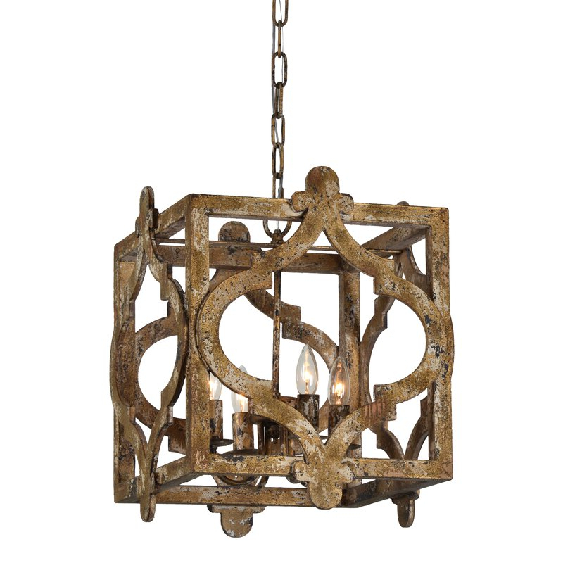 Latest Whitney 4 Light Lantern Square Pendant With Regard To Freeburg 4 Light Lantern Square / Rectangle Pendants (View 16 of 30)