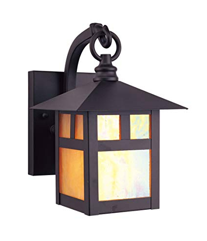 Livex Lighting 2130 07 Montclair Mission 1 Light Outdoor Bronze Finish  Solid Brass Wall Lantern With Iridescent Tiffany Glass With Regard To Latest La Sarre 3 Light Globe Chandeliers (View 23 of 30)