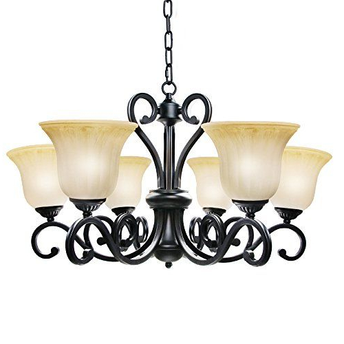 Lnc Traditional Chandelier 6Light Black Antique Pendant With Best And Newest Hayden 5 Light Shaded Chandeliers (Gallery 27 of 30)