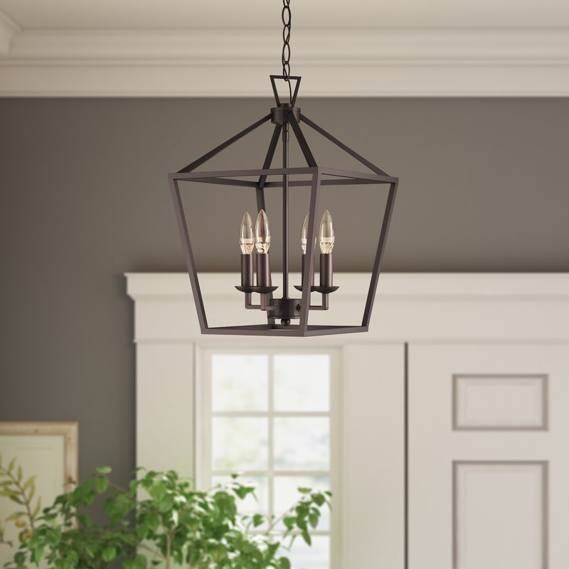 Louanne 1 Light Lantern Geometric Pendants In Most Popular Carmen 4 Light Lantern Geometric Pendant (View 14 of 30)