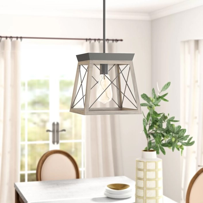 Louanne 1 Light Lantern Geometric Pendants Within Fashionable Delon 1 Light Lantern Geometric Pendant (View 21 of 30)