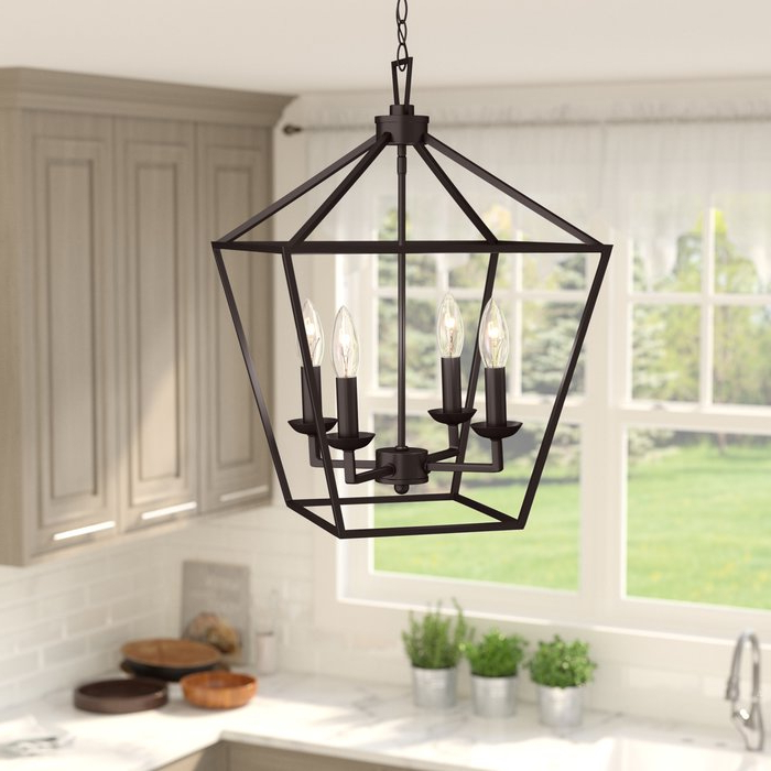 Louanne 3 Light Lantern Geometric Pendants Within Preferred Carmen 4 Light Lantern Geometric Pendant (View 12 of 30)