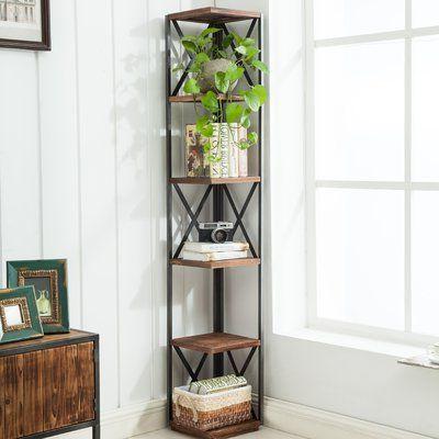 Mari Wood Corner Bookcases In Favorite Williston Forge Gurley Corner Unit Bookcase In (View 8 of 20)