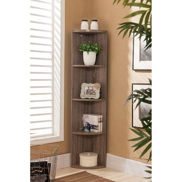 Mari Wood Corner Bookcases Within Recent K&b Bk19 Grey Wood Corner Bookcase (View 11 of 20)