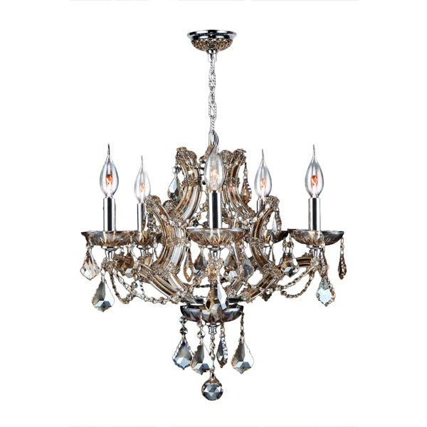 Maria Theresa 5 Light Golden Teak Crystal Glam Chandelier Medium 19 In. W X 18 In. H Medium – Champagne In Recent Thresa 5 Light Shaded Chandeliers (Gallery 5 of 30)