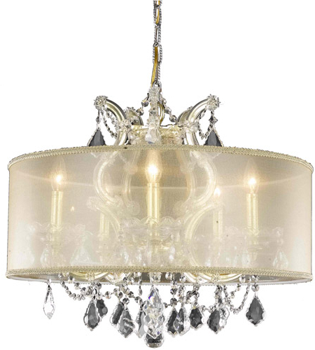 Maria Theresa 6 Light 23 Inch Gold Dining Chandelier Ceiling Light In Clear, Elegant Cut, Gold Shade Regarding Recent Thresa 5 Light Shaded Chandeliers (View 13 of 30)