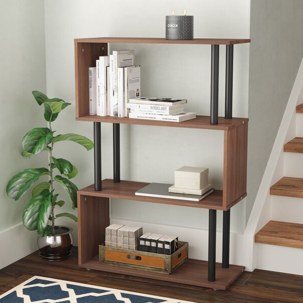 Maryln Standard Bookcases Throughout Trendy Pemberton Geometric Bookcasewrought Studio (Gallery 18 of 20)
