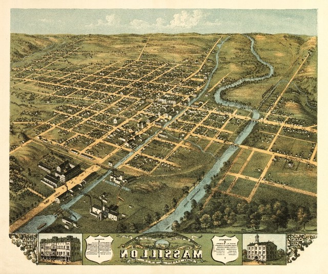 """""""massillon, Ohio, Panoramic Map"""" Print, 9""""x12"""" With Popular Massillon Sideboards (View 1 of 20)"""