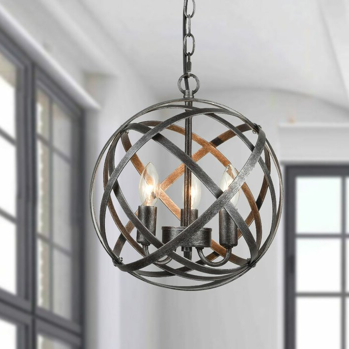 Mcinerney Cage 3 Light Globe Chandelier Within Most Popular Shipststour 3 Light Globe Chandeliers (Gallery 6 of 30)