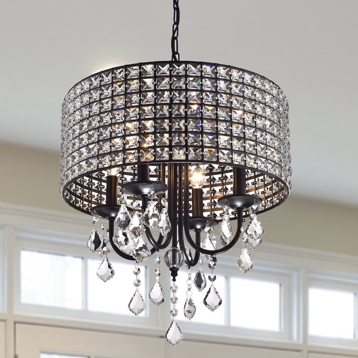 Mckamey 4 Light Crystal Chandeliers Pertaining To Fashionable Albano 4 Light Crystal Chandelier (Gallery 4 of 30)