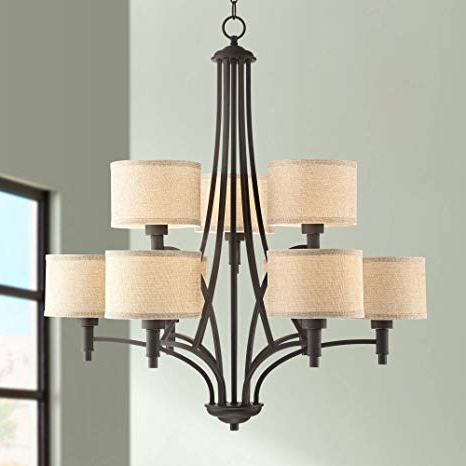 "Mcknight 9 Light Chandeliers For Famous La Pointe 31"" Wide Oil Rubbed Bronze 9 Light Chandelier – Franklin Iron Works (View 14 of 30)"