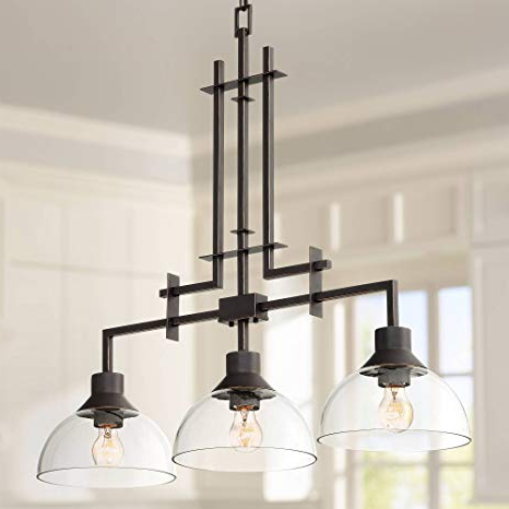 "Metro 32""w Bronze And Clear Glass 3 Light Island Chandelier – Franklin Iron Works Within Famous Lynn 6 Light Geometric Chandeliers (Gallery 23 of 30)"