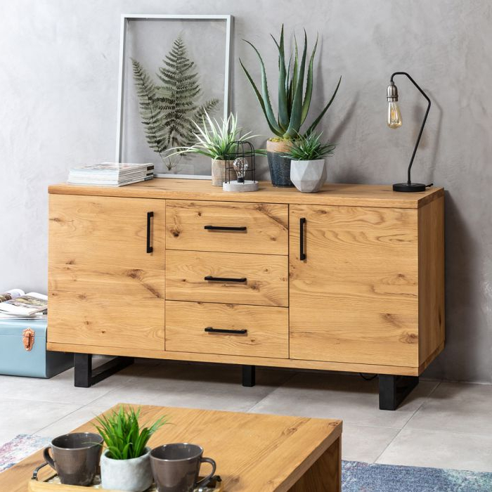 Metro Industrial Oak Large Sideboard Inside Most Recently Released Metro Sideboards (View 4 of 20)