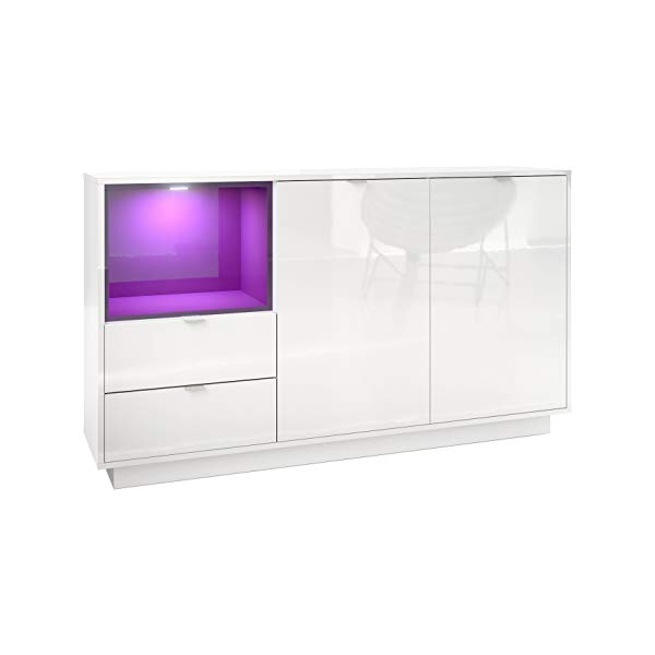 Metro Sideboards Intended For Popular Vladon Sideboard Cabinet Metro, Carcass In White High Gloss/front In White  High Gloss An Insert In Raspberry High Gloss, Incl (View 11 of 20)