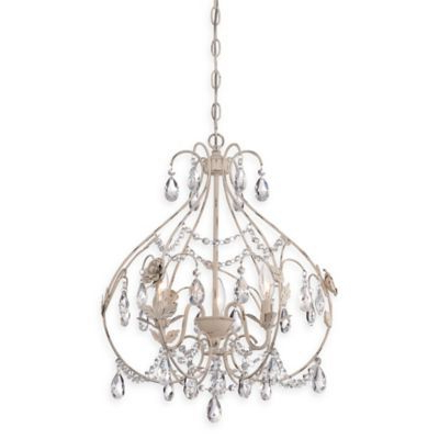 Minka Lavery Provencal Blanc 3 Light Mi Within Best And Newest Whitten 4 Light Crystal Chandeliers (View 17 of 30)