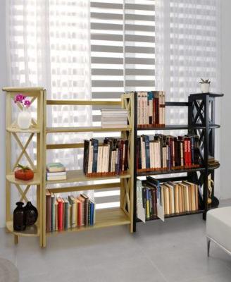 Montego 4 – Shelf Corner Folding Bookcase – Nude Natu Within Famous Hewitt Corner Bookcases (View 16 of 20)