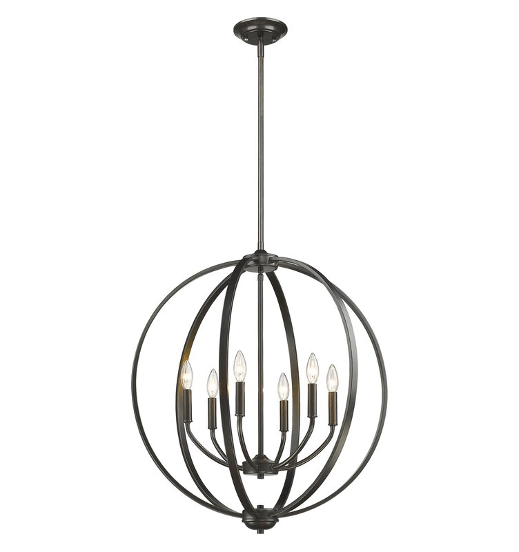 Morganti 4 Light Chandeliers Inside Current Earlene 6 Light Globe Chandelier (Gallery 11 of 30)