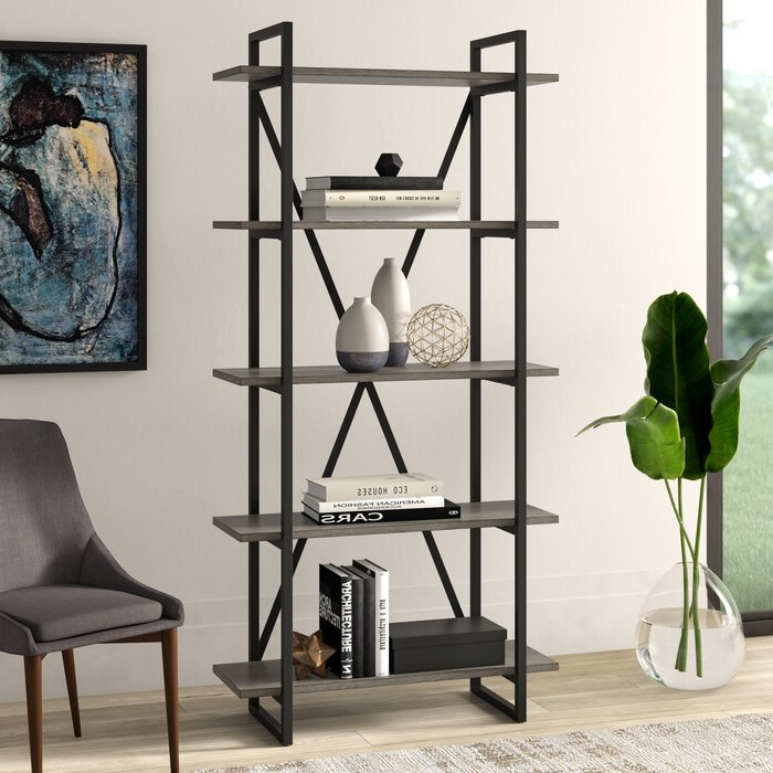 Moriann Etagere Bookcases Within Fashionable Keeble Metal Etagere Bookcase (Gallery 17 of 20)