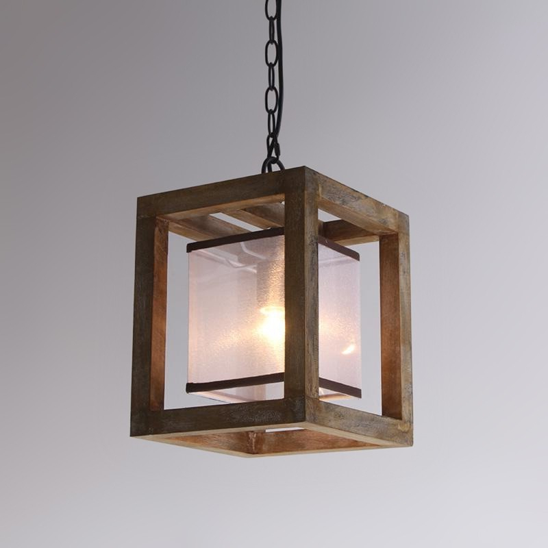 Most Current 4 Light Lantern Square / Rectangle Pendants Inside Farmhouse Style Weathered Wood White Fabric Shade 1 Light Square Lantern Pendant Light (Gallery 30 of 30)