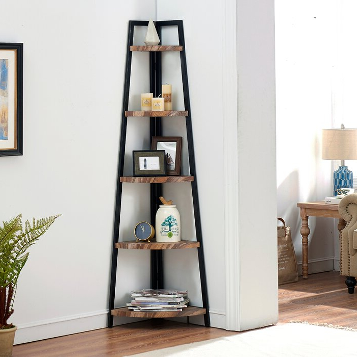 Most Current Hewitt Corner Bookcases Regarding Edwa Free Standing Pyramid Corner Bookcase (View 15 of 20)