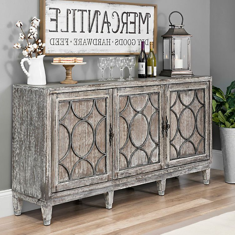 Most Current Product Details Distressed Gray Wood Circles Buffet Cabinet Within Ilyan Traditional Wood Sideboards (View 12 of 20)