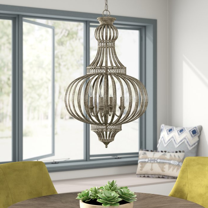 Most Current Rhea 4 Light Globe Chandelier Intended For Morganti 4 Light Chandeliers (Gallery 12 of 30)