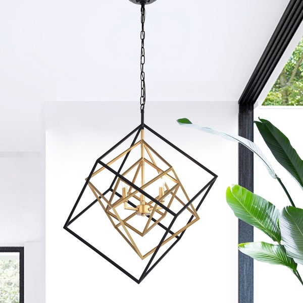 Most Current Triplix 3 Light Geometric Gold And Black Chandelier Inside Donna 4 Light Globe Chandeliers (View 20 of 30)