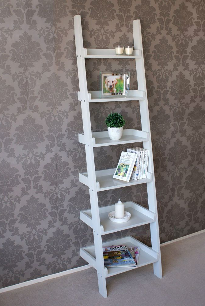 Most Current Wooden Tall Narrow Ladder Shelf 6 Shelving Unit Bookcase Throughout Narrow Ladder Bookcases (Gallery 20 of 20)