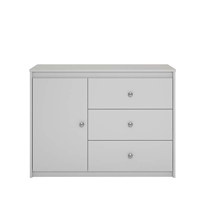 Most Popular Ameriwood Home Elements 3 Drawer Storage Organizer With Door, Dove Gray Regarding Rosson Sideboards (View 8 of 20)