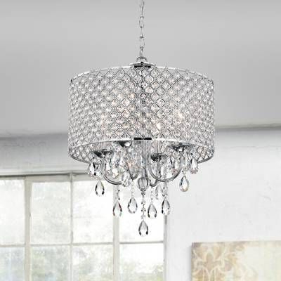 Most Popular Aurore 4 Light Crystal Chandelier In  (View 25 of 30)