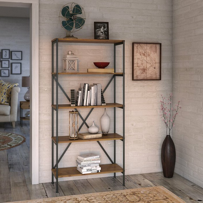 Most Popular Beckwith Etagere Bookcases Inside Ironworks 5 Shelf Etagere Bookcase (View 19 of 20)