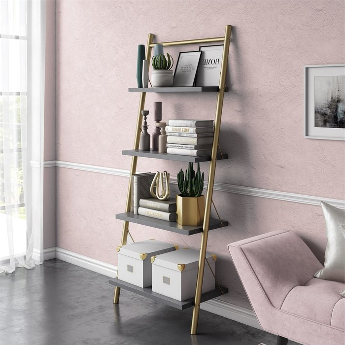 Most Popular Bordelon Slatted Ladder Bookcases Within Nova Ladder Bookcase (Gallery 13 of 20)