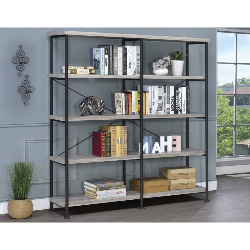 Most Popular Cifuentes Dual Etagere Bookcase In Cifuentes Dual Etagere Bookcases (Gallery 2 of 20)