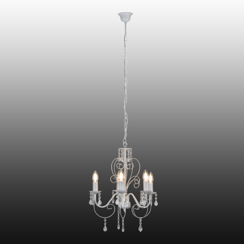 Most Popular Clea 3 Light Crystal Chandeliers Throughout Chandelier 5 Light White With Crystals – Lightco (View 22 of 30)